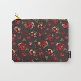 Vintage bouquets. Red roses and white hydrangea on dark background. Carry-All Pouch