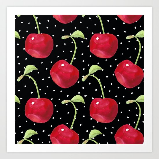 Cherry pattern III Art Print