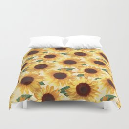 Happy Yellow Sunflowers Duvet Cover