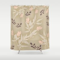 vintage flowers Shower Curtains featuring vintage flowers by Julia Tomova