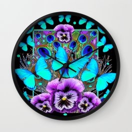 Blue Butterflies Peacock Feather Eyes Pansy Black  Pattern Art Wall Clock