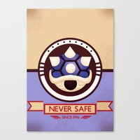 mario kart Canvas Prints featuring Never Safe - Mario Kart by TomStreetArt