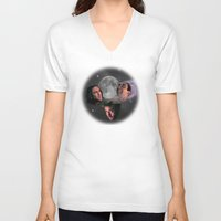 nicolas cage V-neck T-shirts featuring 3 Cage Moon by Jared Cady