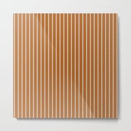 Ochre + Ecru Thin Stripes Metal Print