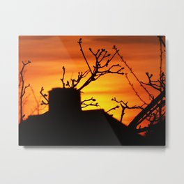 Silhouette of a house at sunset Metal Print
