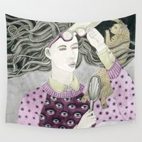glasses Wall Tapestries featuring Glasses by Yuliya