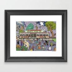 Mayhem at Mickey's Diner Framed Art Print