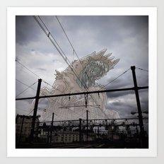 Monstre Géant au dessus de Dijon Art Print
