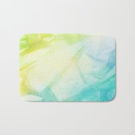 Abstract lime green teal hand painted watercolor pattern Bath Mat