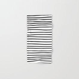 Modern simple trendy black white striped pattern Hand & Bath Towel