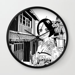 Kimono girl (manga style drawing) Wall Clock