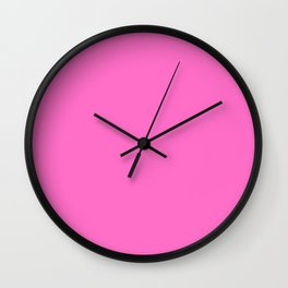 Neon Pink Solid Colour Wall Clock