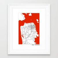 san francisco map Framed Art Prints featuring District San Francisco Map by Studio Tesouro