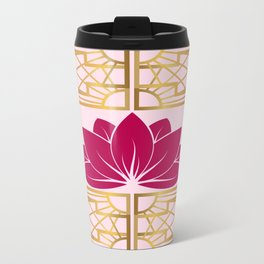 Art Deco Retro Lotus (cerise) Travel Mug
