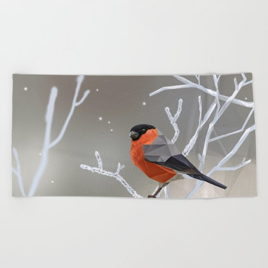 Safe transitions! // (polygonal bull-finch) Beach Towel