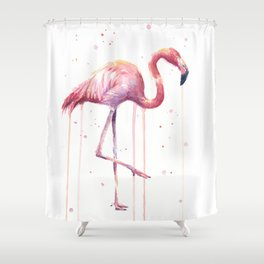 Pink Flamingo Portrait Watercolor Animals Birds | Facing Right Shower Curtain