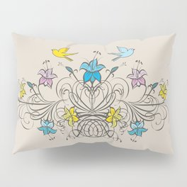 Shabby Chic vintage lily flowers bouquet and birds 1 Pillow Sham