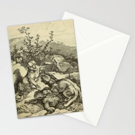 Vintage Print - Animals in Action (1901) - Pumas fighting for the Booty of a Nandu Stationery Cards