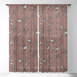 Contemporary Koi Fishes / Bold Earth Tones Sheer Curtain