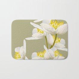 White Flowers On A Light Green Background #decor #buyart #society6 Bath Mat
