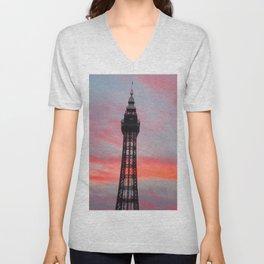 Blackpool Tower Sunset Unisex V-Neck
