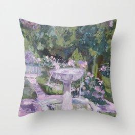 Spring garden, impressionist painting, Sorolla interpretation Throw Pillow