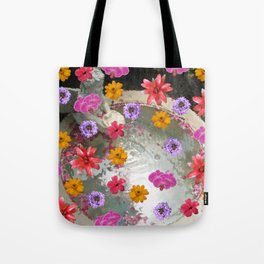 Flowers over Fountain Tote Bag