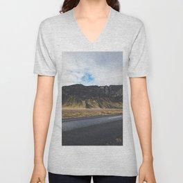 A Mountain on the Left. Iceland Landscape. Roadtrip Travel. Photography. Unisex V-Neck