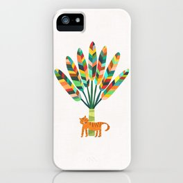 Whimsical travelers palm with tiger iPhone Case