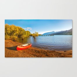 Glenorchy Wharf and pier at golden hour in New Zealand Canvas Print