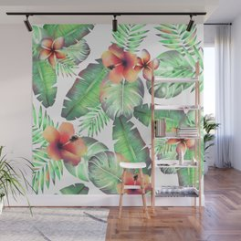 Exotic floral pattern with green palm leaves and flowers Wall Mural