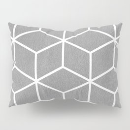 Light Grey and White - Geometric Textured Cube Design Pillow Sham