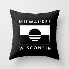 Milwaukee Wisconsin - Black - People's Flag of Milwaukee Throw Pillow