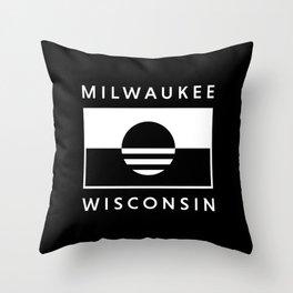 Milwaukee Wisconsin - Black - People's Flag of Milwaukee Throw Pillow