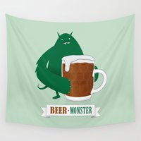 beer Wall Tapestries featuring Beer Monster by DWatson