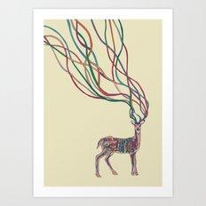 Deer Ribbons Art Print