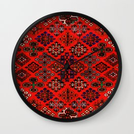 -A30- Red Epic Traditional Moroccan Carpet Design. Wall Clock