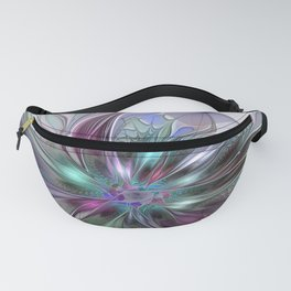 Colorful Fantasy Abstract Modern Fractal Flower Fanny Pack