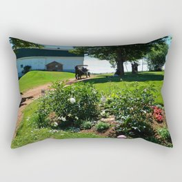 Horse Drawn Carriage on Farm in PEI Rectangular Pillow