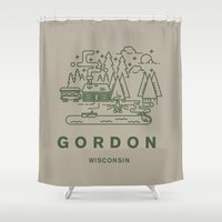 wisconsin Shower Curtains featuring Gordon Wisconsin  by coltgriffithdesign