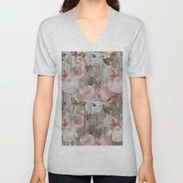 Rustic watercolor brown wood blush pink floral Unisex V-Neck