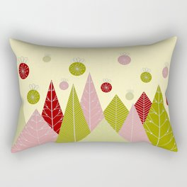 Trees and Ornaments Triangles and Circles Christmas Illustration Rectangular Pillow