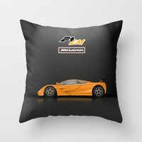 f1 Throw Pillows featuring McLaren F1 LM by vsixdesign
