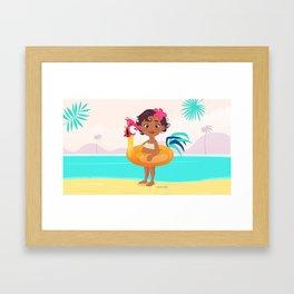 Baby Moana & Hei Hei Framed Art Print