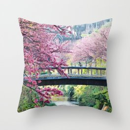 Cherry Tree Blossoms of Spring Along the River Portrait Painting Throw Pillow