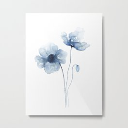 Blue Watercolor Poppies Metal Print