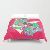 trex Duvet Covers featuring Ju-RAD-ssic Park by Fightstacy