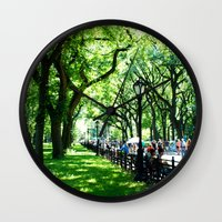 literary Wall Clocks featuring Literary Walk at Central Park, New York City   by Lissette