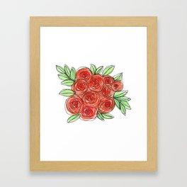 Watercolor Orange Rose Bouquet Framed Art Print