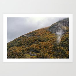Misty forest in the valley of Gressoney near Monte Rosa during autumn Art Print